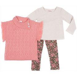 Little Lass Little Girls 3-pc. Poncho Sweater Set