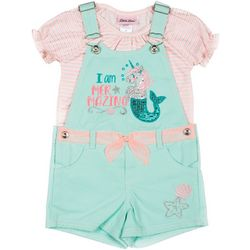 Little Lass Little Girls Sequin Mermaid Shortalls Set