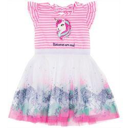 Little Lass Little Girls Striped Unicorn Tulle Dress