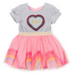 Little Lass Little Girls Sequin Love Tulle Dress