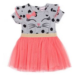 Little Lass Little Girls Polka Dot Cat Tulle Dress