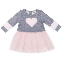 Little Lass Little Girls Furry Heart Tulle Dress