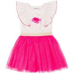 Little Lass Little Girls Flamingo Ruffle Tulle Dress