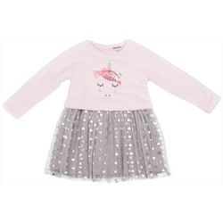 Little Lass Little Girls Plush Unicorn Foil Heart Dress