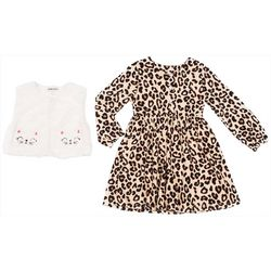 Little Lass Little Girls 2-pc. Leopard Dress & Cat Vest