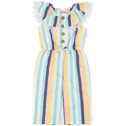 Little Lass Little Girls Stripe Faux Linen Jumpsuit