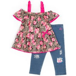 Betsey Johnson Little Girls Animal Floral Top & Leggings Set
