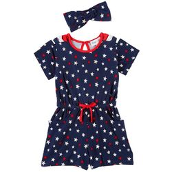 Freestyle Little Girls Star Print Romper