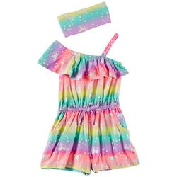Freestyle Little Girls Unicorn Ruffle Shoulder Romper