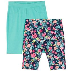 Freestyle Little Girls 2-pk. Tropical & Solid Bermuda