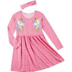 Freestyle Little Girls Unicorn Yummy Long Sleeve Dress