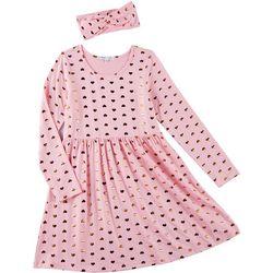 Freestyle Little Girls Heart Print Long Sleeve Dress