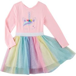 Freestyle Little Girls Unicorn Tutu Long Sleeve Dress