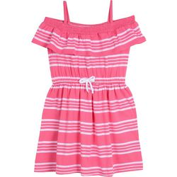Nautica Little Girls Off The Shoulder Striped Ruffle Dress