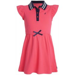 Nautica Little Girls Button Up Collar Dress