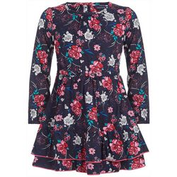 Nautica Little Girls Floral Print Long Sleeve Ruffle Dress