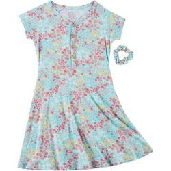 Star Ride Little Girls Short Sleeve Floral Dress