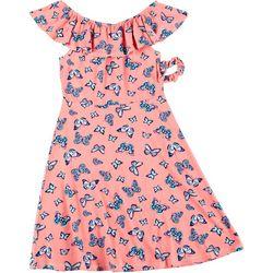 Star Ride Little Girls Flutter Sleeve Butterfly Dress