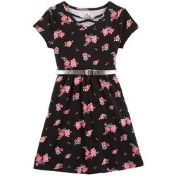 Star Ride Little Girls Floral Print Belted Dress