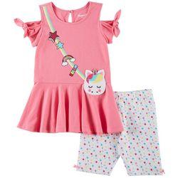Nannette Little Girls 2-pc. Unicorn Purse Shorts Set