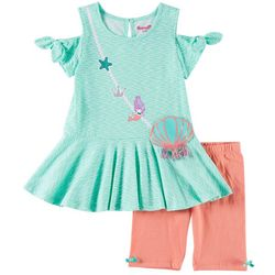 Nannette Little Girls 2-pc. Mermaid Purse Shorts Set