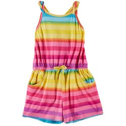 Nannette Little Girls Striped Sleeveless Romper