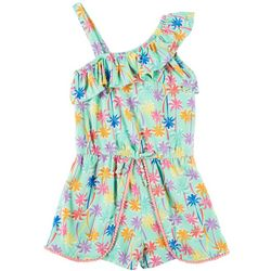Nannette Little Girls Palm Tree Ruffle Romper