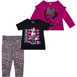 Disney Little Girls 3-pc. Minnie Leopard Print Leggings Set