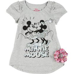 Disney Little Girls Minnie Mouse Tee & Scrunchie Set