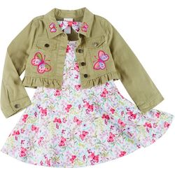 Nannette Little Girls Butterfly Print & Vest Dress