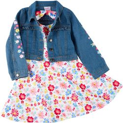 Nannette Little Girls Denim Vest & Floral Print Dress