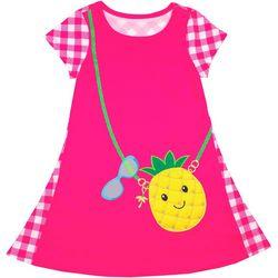 Nannette Little Girls Pineapple Purse Check Dress