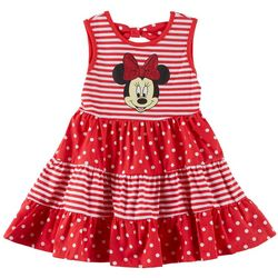 Disney Minnie Mouse Little Girls Striped Dot Dress