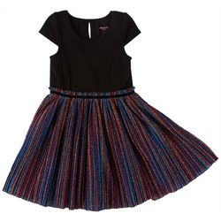 Nannette Little Girls Striped Sparkle Tulle Dress
