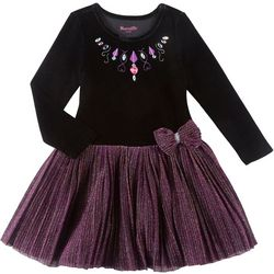 Nannette Big Girls Velvet Sparkle Tulle Dress