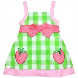 Samara Little Girls Checkered Strawberry Bow Tie Dress
