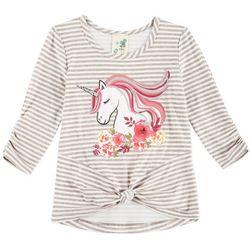 Lily Bleu Little Girls Unicorn Knot Front T-Shirt