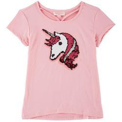 Poof Little Girls Unicorn Reversible Sequin T-Shirt