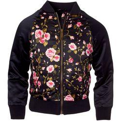 Pink Platinum Little Girls Floral Print Bomber Jacket