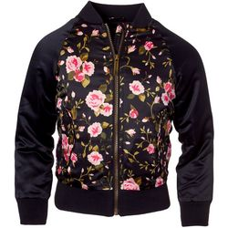 Pink Platinum Little Girls Floral Print Bomber Jacket