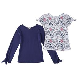 Flapdoodles Little Girls 2-pk. Cat Print & Solid T-Shirts