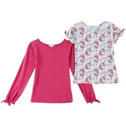 Flapdoodles Little Girls 2-pk. Unicorn & Solid Bow T-Shirts