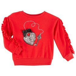 Flapdoodles Little Girls Lock & Key Ruffled Sweater