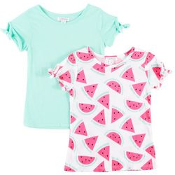 Flapdoodles Little Girls 2-pk. Melon Print & Solid T-Shirts