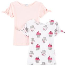 Flapdoodles Little Girls 2-pk. Cake Print & Solid T-Shirts