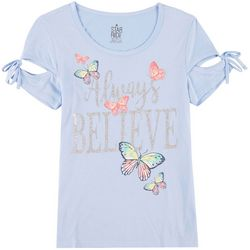 Star Ride Little Girls Always Believe Butterfly T-Shirt
