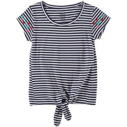 Star Ride Little Girls Striped Floral Tie Front Top