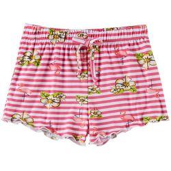 Poof Big Girls Striped Flamingo Shorts