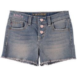 Vigoss Little Girls Triple Heart Button Denim Shorts