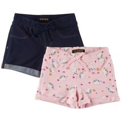 Vigoss Little Girls 2-pk. Unicorn & Solid Cuffed Shorts